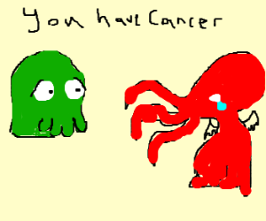 Green Zoidberg tells red cathulu he has cancer