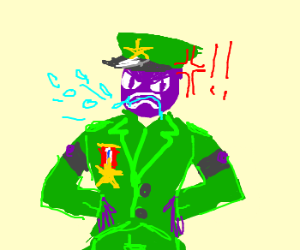 Sergeant Grapehead so mad he spits