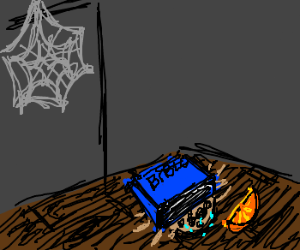 A crushed spider enjoys his last orange slice.