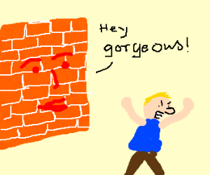 Brick wall hitting on an angry man