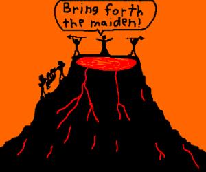sacrificing maiden to the volcano
