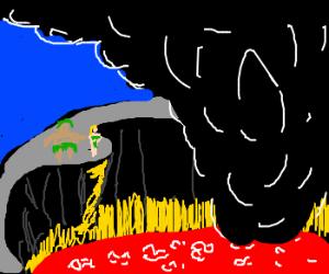 Sacrificing a virgin to the Volcano Gods