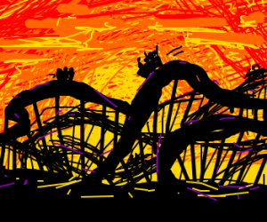 Roller-coaster silhouette at sunset