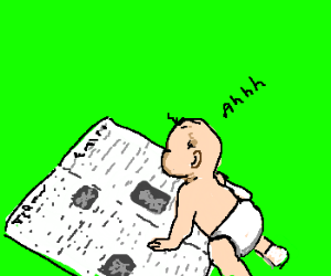 Baby is so smart that he can read a newspaper