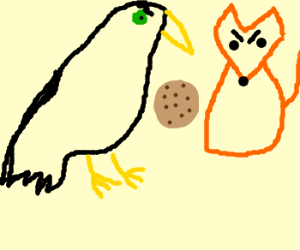 """""""the crow and the fox"""" with a cookie"""