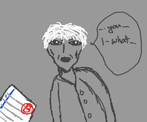 grey faced old man hesitates to speak