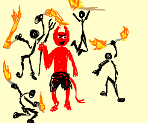 People doing the fire dance around Satan :V