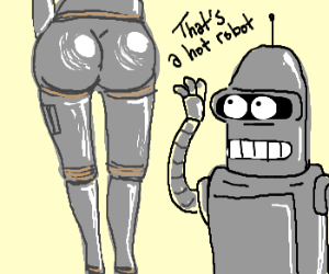 "Bender stares at ""Dat A$$"" of sexy robot girl"