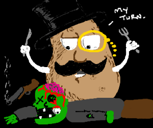 Sir potato killed a zombie; eats his brains