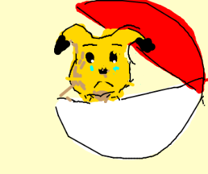 pikatchu is dissatisfied upon entering a ball