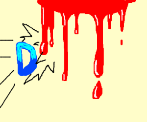 Drawception D hits bleeding wall