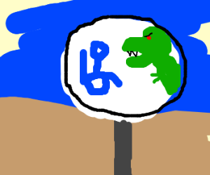 """""""Handicapped Will Be Eaten By Dinosaurs"""" Sign"""