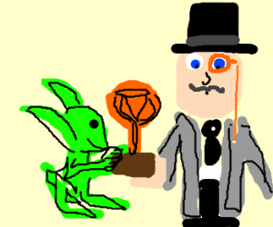Goblin steals trophy from monocled man