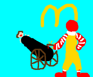 Ronald McDonald Shoots Customers Out of Cannon