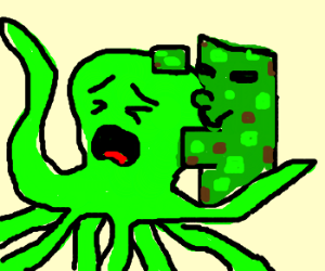 creeper molesting an lime green octopus