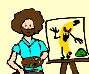 Painting an angry bananamonster