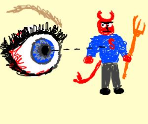 Eye sees the Devil wearing monogrammed sweater