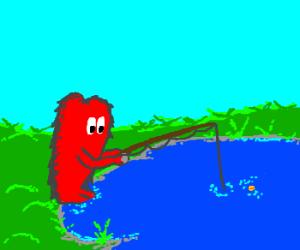 Gossamer (looney toons) goes fishing
