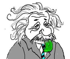 Einstein has green tongue (As drawn by Cancer)