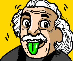 Einstein has a green tongue