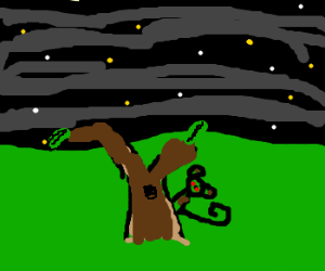 Creepy monkey staring at you from behind tree