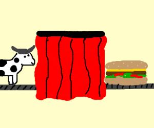 Processing a cow into a burger