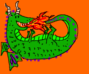 Green dragon breathes fire on own tail.