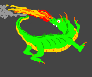 Dragon breathes fire on his own tail