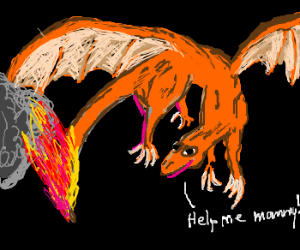 orange baby dragon with tail on fire