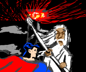 Superman fights Gandalf for Middle-Earth.