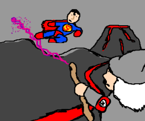 Superman fights Gandolf in Mordor
