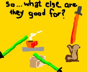 Light sabers used for mundane tasks