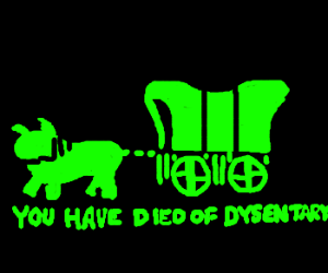 Oregon Trail. You have died of dysentery.