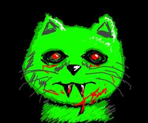 Scary Green Cat Creature
