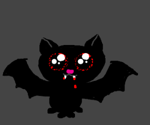 Cute vampire cat with blood all over her face