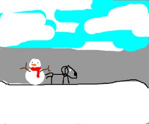 Snowman waits while his dog goes pee