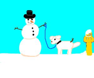 Snowman has a snowman dog on a leash