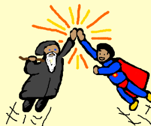 Dumbledore and Superman High Five