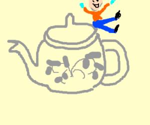 I'm a little guy on a BIG teayypot!