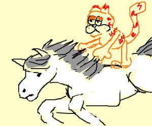 Garfield Gracfully Gallops on Gallant...Horse