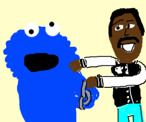 Cookie Monster gets busted by Det. Axel Foley.