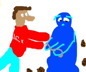Axel Foley happily arrests the cookie monster.
