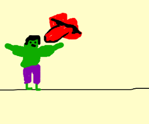 Hulk on a wire, licked by disembodied mouths