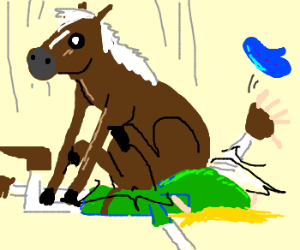 Link played Epona's song.  Here she is!