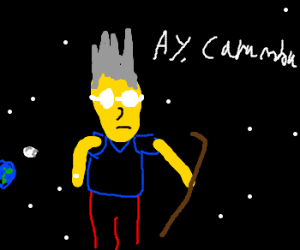 really old version of bart simpson in space