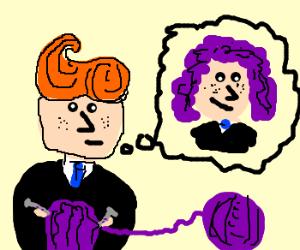 Conan knits a purple wig