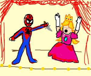 Spiderman robs Princess Peach w/knife on stage