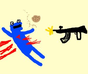 cookie monster is gunned down
