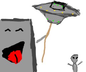 Living grey building flies UFO kite in Area 61