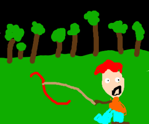 man in the woods with a gummy worm on a leash